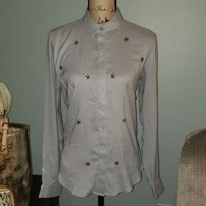 New Ann Taylor Jeweled Long Sleeve Button Down Top